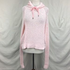 Abercrombie & Fitch Pink White Crochet Knit Hoodie